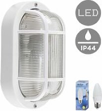 Outdoor LED Bulkhead Wall Light Ip44 Lantern Black