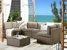 Outdoor Lounge Set Brown Faux Rattan Cushions