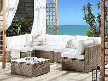 Outdoor Lounge Set Brown Faux Rattan White