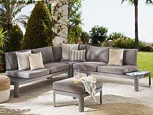Outdoor Lounge Set Grey Aluminium Modular L-Shaped