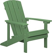 Outdoor Lounger Chair Green Plastic Wood for Patio