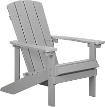 Outdoor Lounger Chair Light Grey Plastic Wood for Patio Yard Adirondack