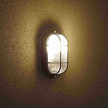 Outdoor Oval Bulkhead Wall Security Light Caged