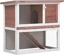 Outdoor Rabbit Hutch 1 Door Brown Wood - Brown