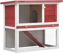 Outdoor Rabbit Hutch 1 Door Red Wood