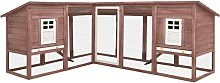 Outdoor Rabbit Hutch with Run Mocca and White