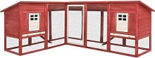 Outdoor Rabbit Hutch with Run Red and White Solid