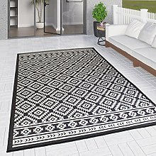 Outdoor Rug Black and White for Decking Garden