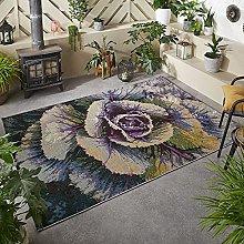 Outdoor Rug for Garden Patios Decking Cream Purple