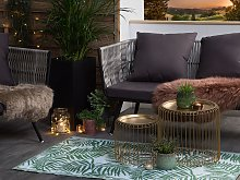 Outdoor Rug Green PP 90x150 cm Reversible Palm
