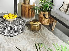Outdoor Rug Mat Beige Synthetic 120 x 180 cm Palm