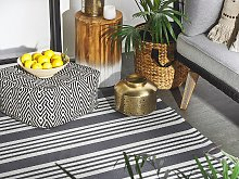 Outdoor Rug Mat Black and Light Grey Synthetic 120