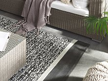 Outdoor Rug Mat Black and White Synthetic 120 x