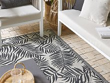 Outdoor Rug Mat Black Synthetic 120 x 180 cm Palm
