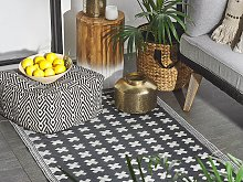 Outdoor Rug Mat Black Synthetic 90 x 180 cm Eco