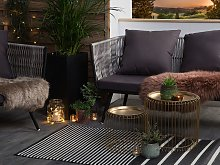 Outdoor Rug Mat Black Synthetic 90 x 180 cm