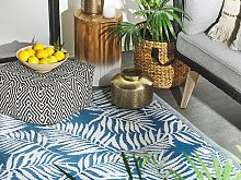 Outdoor Rug Mat Blue Synthetic 120 x 180 cm Palm