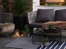 Outdoor Rug Mat Blue Synthetic 90 x 180 cm Striped