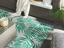 Outdoor Rug Mat Green Synthetic 160 x 230 cm Palm