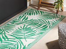 Outdoor Rug Mat Green Synthetic 60 x 105 cm Palm