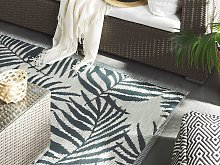 Outdoor Rug Mat Grey Synthetic 180 x 270 cm Palm
