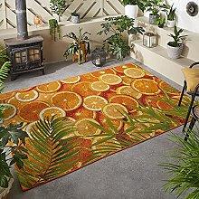 Outdoor Rug Orange for Garden Patios Decking