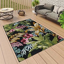 Outdoor Rug Tropical Black with Multi Colour