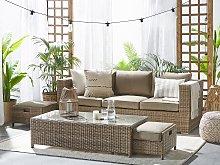 Outdoor Sofa Set Brown Faux Rattan 3 Seater Sofa