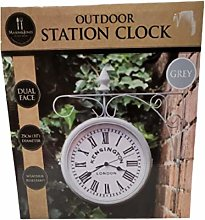 Outdoor Station Clock Dual Face Weather Resistant