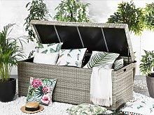 Outdoor Storage Box Grey Faux Rattan Garden Deck