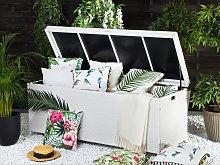 Outdoor Storage Box White Faux Rattan Garden Deck