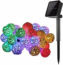 Outdoor String Lights, KEEDA Rattan Ball Solar