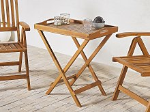 Outdoor Tea Table Light Wood Acacia Folding Tray Tabletop