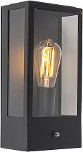 Outdoor wall lamp black with light-dark sensor -