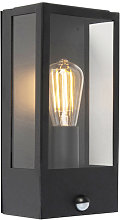Outdoor wall lamp black with motion detector IP44