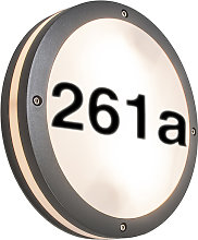 Outdoor Wall Lamp Dark Grey IP54 with House Number