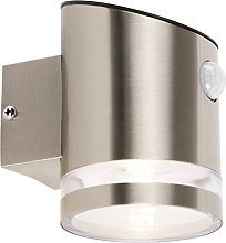 Outdoor wall lamp gray with motion sensor IP44