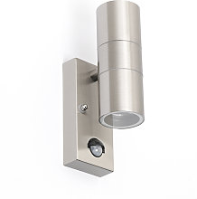 Outdoor Wall Lamp with Motion Sensor Steel IP44 -