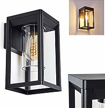Outdoor Wall Light Baoshan in Black Metal, Square