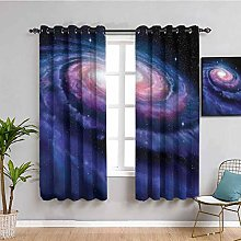 Outer Space Decor Blackout Curtain Spiral Cosmic