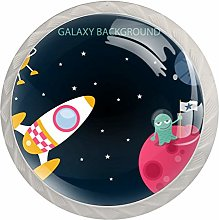 Outer Spaceship Galaxy Rockets Planet Glass