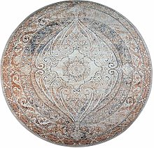 OUTGYM Round Vintage Area Rug Round Traditional
