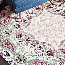 OUTGYM Vintage Round Rug Floral Round Rug Round