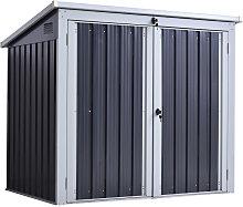 Outsunny 158x100cm Outdoor Steel 2-Bin Storage