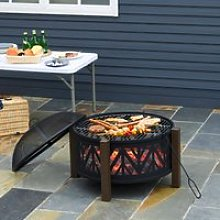 Outsunny 2-in-1 Outdoor Fire Pit Bowl with BBQ