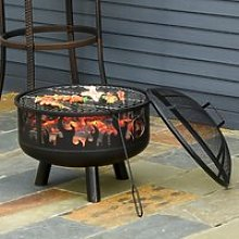 Outsunny 2-in-1 Outdoor Fire Pit with Cooking