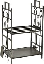 Outsunny 2-Layer Heavy Duty Firewood Rack Wood Log