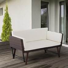 Outsunny 2-Seater 2-in-1 Rattan Convertible Sofa