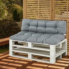Outsunny 2Pcs Garden Tufted Pallet Cushion Seat Pad Back Cushion Patio for Indoor Outdoor Use, Dark Grey