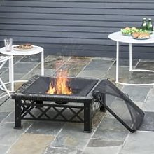 Outsunny 3 in 1 Square Fire Pit Square Table Metal